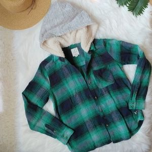 American Eagle Vintage Boyfriend Flannel with Hood